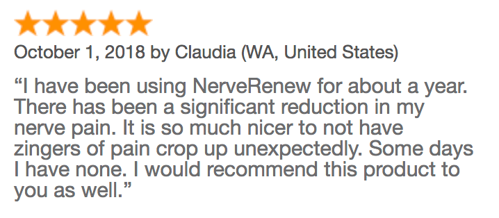 Review of Nerve Renew from Claudia with significant reduction in nerve pain