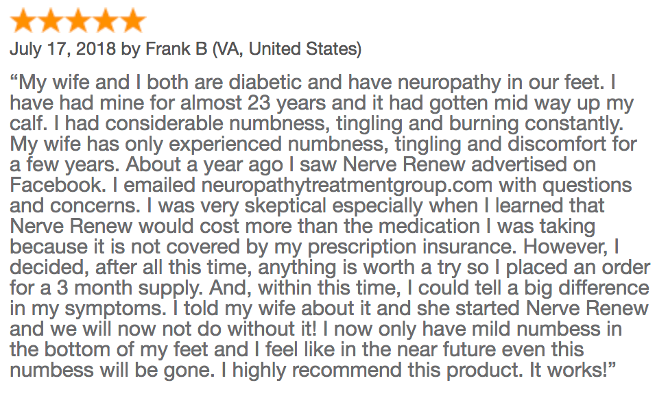 Frank B customer review with diabetic neuropathy