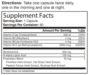 Supplement facts label of Nerve Renew with ingredients and dosages