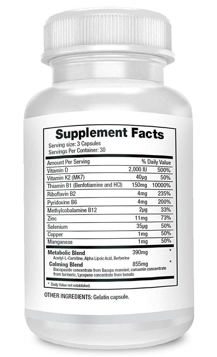 Facts/ingredients label of Nerve Aid neuropathy supplement