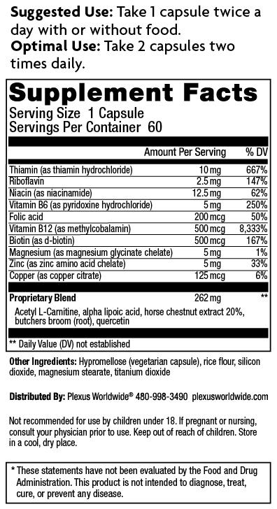 Plexus Nerve Supplement Facts Label listing ingredients and dosages