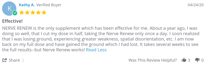 Kathy A. reviews Nerve Renew and saw results in serveral weeks
