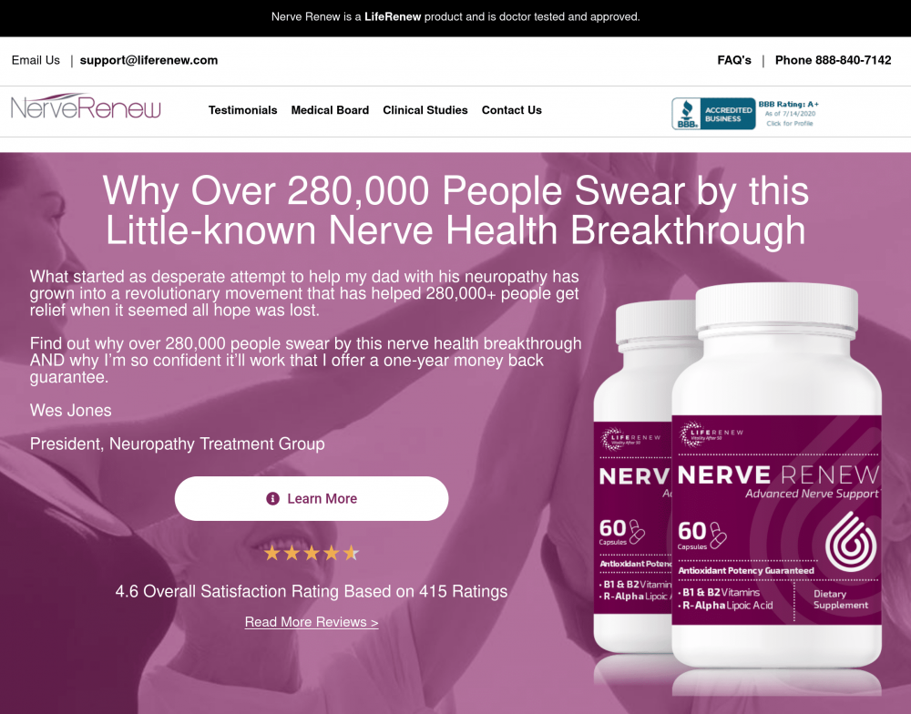 The homepage of the Neuropathy Treatment Group